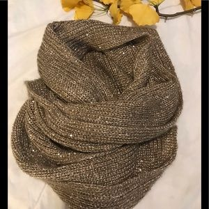 H&M taupe & gold sequined infinity scarf